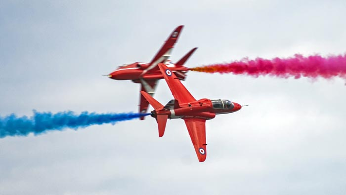 Red Arrows at an airshow