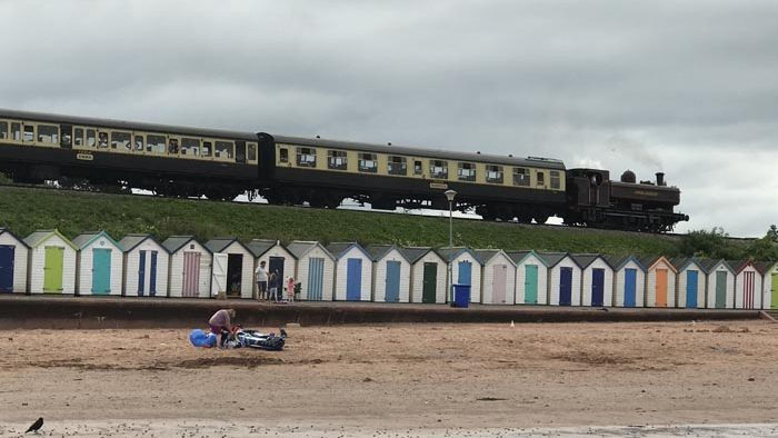 The train passes by - walking from Preston to Goodrington Sands