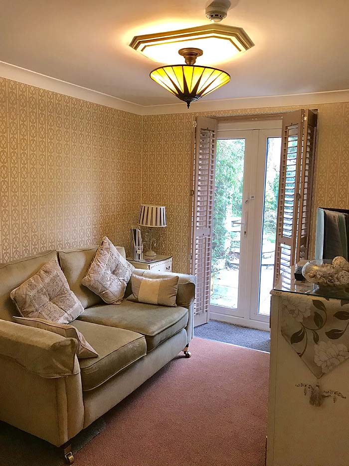 The redecorated lounge area in The Garden Suite, The Somerville B&B, 2019