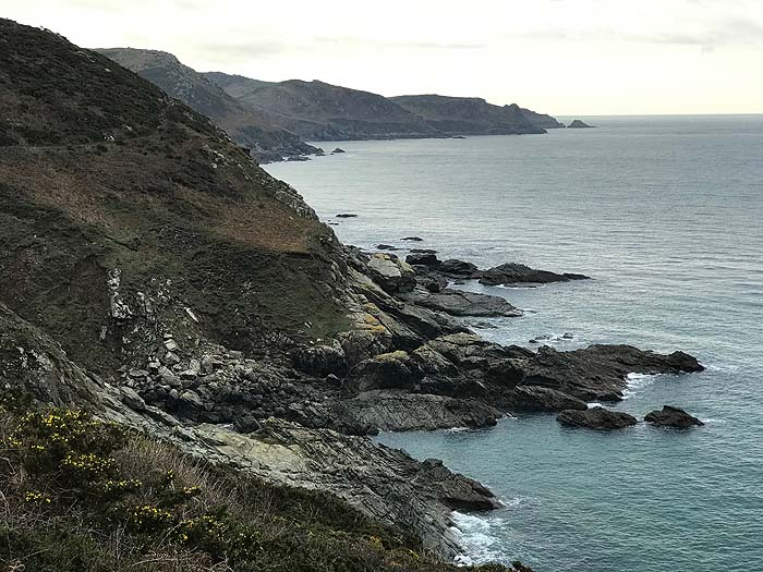 The cliff edge - while walking in The Salcombe area, Devon, 2018-19