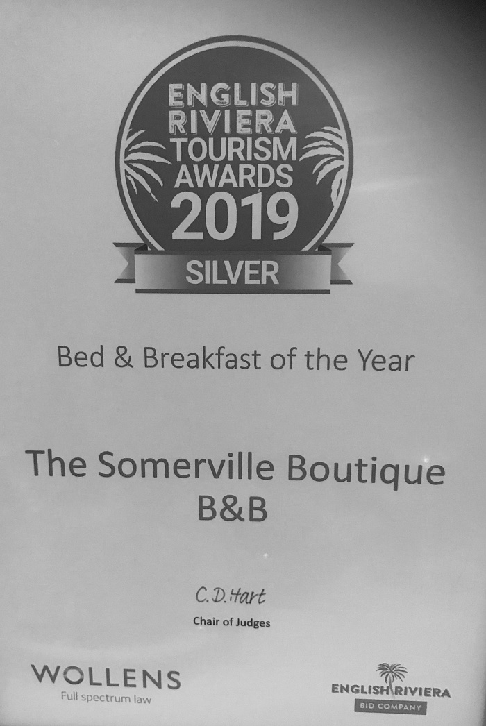 The Somerville - English Riviera Tourism Silver Medal Winners 2019